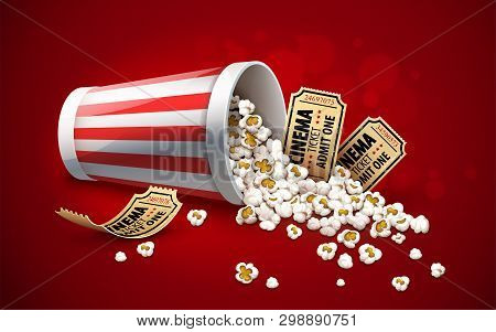 Popcorn Poured From Paper Bucket. Full Cup For Snacks In Movie Theater Fast Food. Gold Cinema Ticket
