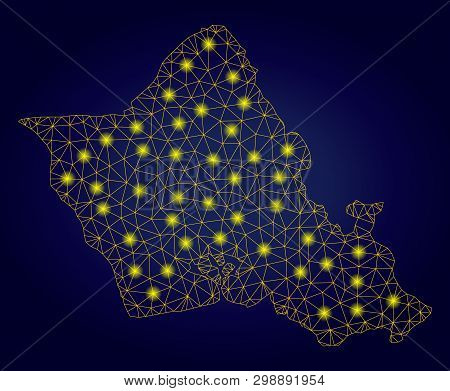 Yellow Mesh Vector Oahu Island Map With Flare Effect On A Dark Blue Gradiented Background. Abstract
