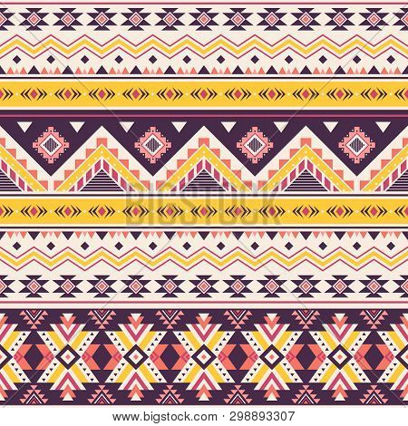 Tribal Striped Seamless Pattern. Aztec Geometric Vector Background. Can Be Used In Textile Design, W