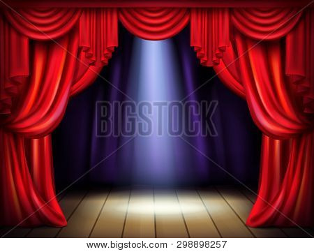 Empty Stage With Opened Red Curtains And Projector Light Beam On Wooden Floor Realistic Illustration
