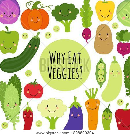 Cute Eat Veggies Background With Smiling Cartoon Characters Of Vegetables
