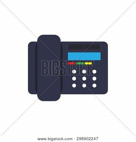 Symbol Device Illustration Isolated Equipment Black. Talk Desk Object Telephone Receiver. Cell Phone