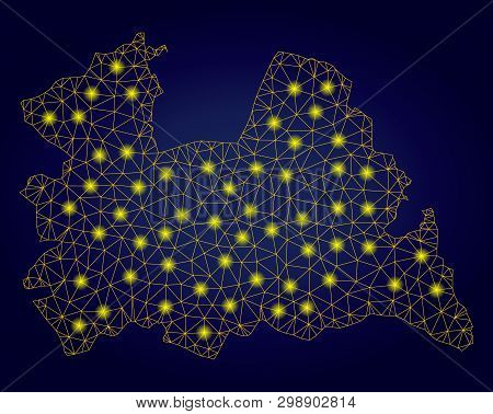 Yellow Mesh Vector Utrecht Province Map With Glare Effect On A Dark Blue Gradiented Background. Abst