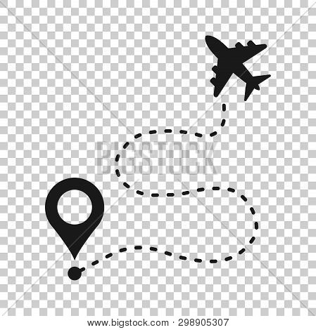 Airplane Flight Route Icon In Transparent Style. Travel Line Path Vector Illustration On Isolated Ba