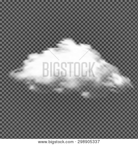 Vector Cloud On Transparent Background. Fluffy Smoke. Cloudy Thunder Effect. Cumulus Cloudscape. Atm