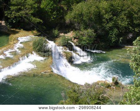 08/21/2007 - View Of Krka Waterfalls National Park, Middle Dalmatia, Croatia. Summer. Cascade, Casca