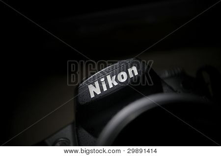 Nikon Sign On A Dslr Camera