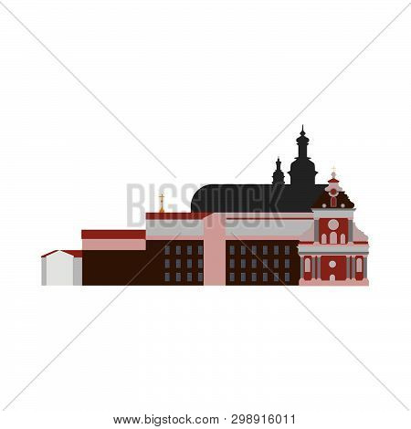 Abbey Vector Architecture Ancient Building Illustration. Flat Vector Church