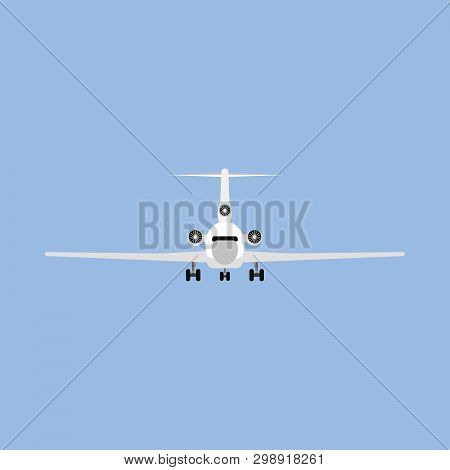Jetliner Tourism Transportation Illustration Isolated Flat Icon Front View. Concept Track Traffic Pl