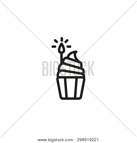 Birthday Cupcake Line Icon. Cake, Muffin, Candles. Birthday Party Concept. Vector Illustration Can B