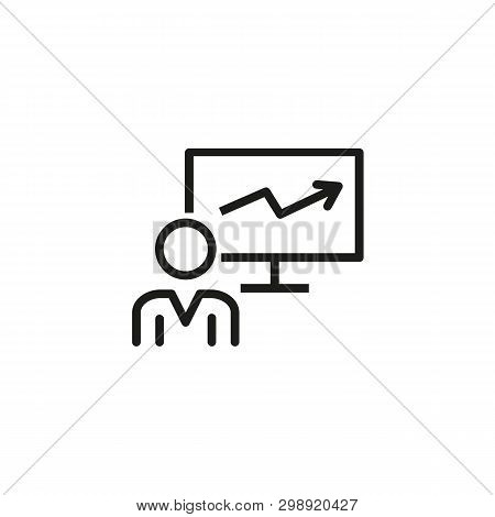 Valuable Employee Profit Line Icon. Worker And Growth Diagram On Monitor. Human Resource Concept. Ve