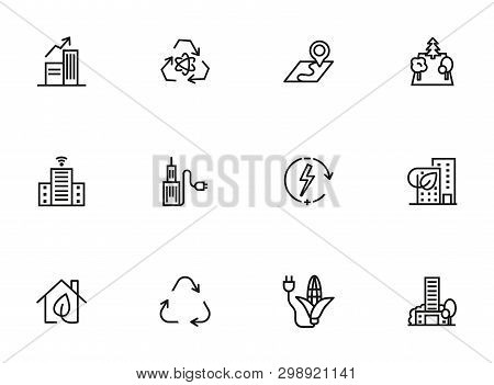 Sustainable Urbanization Icon Set. Line Icons Collection On White Background. City, Recycling, Consu