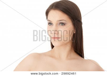Portrait of attractive young woman with bare shoulders.?
