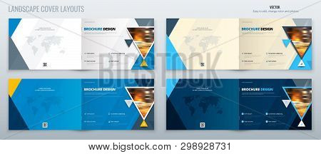 Blue Landscape Brochure Template Layout, Cover Design Annual Report, Magazine, Flyer Or Brochure In