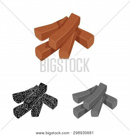 Vector Illustration Of Croutons  And Bread Logo. Set Of Croutons  And Crackers  Stock Vector Illustr