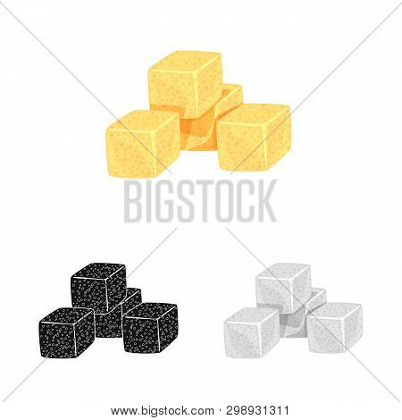 Vector Illustration Of Croutons  And Bread Logo. Set Of Croutons  And Bowl  Stock Symbol For Web.
