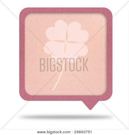 Clover With Four Leaves On Recycle Paper Talk Tag