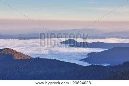 Beautiful White Cloud Sky, With Fog On The Morning. Fog In The Morning With Mountain .mist With Moun