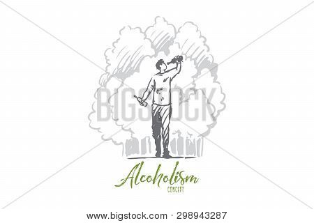 Alcoholism, Man, Drunk, Bottle, Alcoholic Concept. Hand Drawn Drunk Man With Bottle Walking In Park