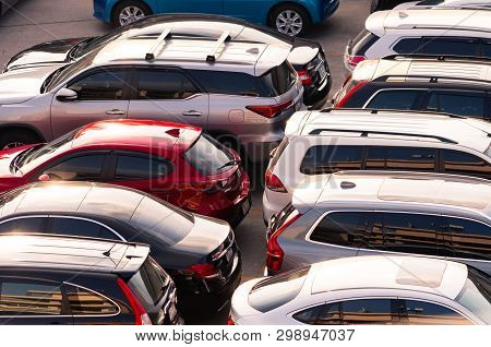 Bangkok, Thailand-march 5, 2019 : Car Parked At Concrete Parking Lot. Aerial View Of Car Parking Are