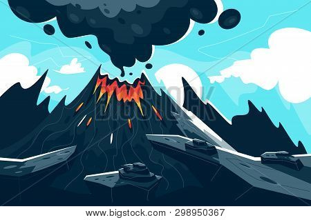 Flat Erupting Volcano With Red Flame And Smoke. Concept Natural Phenomenon, Disaster In Mountain. Ve