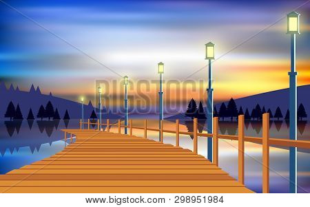 Landscape Of Wooden Walkway At The River In Sunset