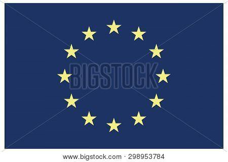 European Union Flag With Stars In Circle. Euro Flag. Flag Of European Union With Correct Proportions