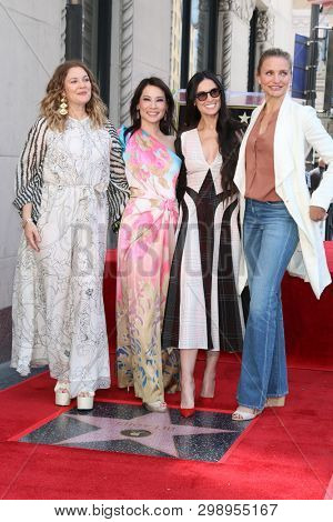 LOS ANGELES - MAY 1:  Drew Barrymore, Lucy Liu, Demi Moore, Cameron Diaz at the Lucy Liu Star Ceremony on the Hollywood Walk of Fame on May 1, 2019 in Los Angeles, CA