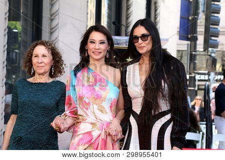 LOS ANGELES - MAY 1:  Rhea Perlman, Lucy Liu, Demi Moore at the Lucy Liu Star Ceremony on the Hollywood Walk of Fame on May 1, 2019 in Los Angeles, CA