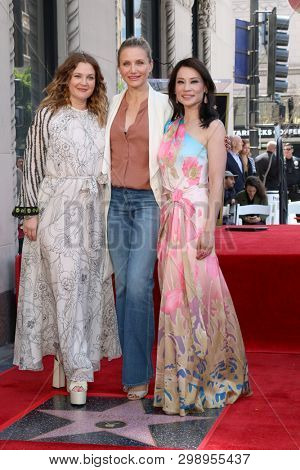 LOS ANGELES - MAY 1:  Drew Barrymore, Cameron Diaz, Lucy Liu at the Lucy Liu Star Ceremony on the Hollywood Walk of Fame on May 1, 2019 in Los Angeles, CA