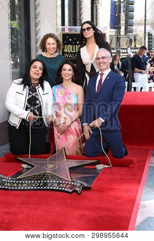 LOS ANGELES - MAY 1:  Mitch O'Farrell, Lucu Liu at the Lucy Liu Star Ceremony on the Hollywood Walk of Fame on May 1, 2019 in Los Angeles, CA