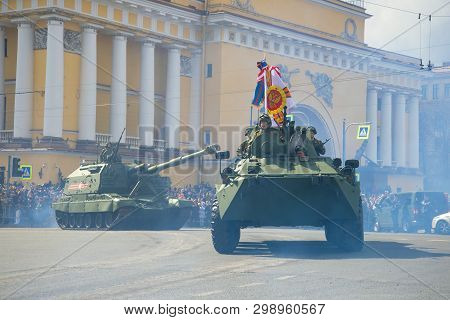 Saint Petersburg, Russia - May 09, 2017: Armored Personnel Carrier Btr-82a And Msta-s Self-propelled