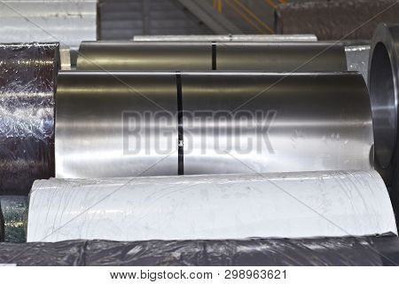 Rolls of cold-rolled galvanized steel in stock, Russia poster