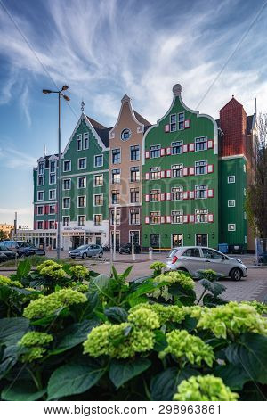 Zaandam, The Netherlands, April 18, 2019: The Zaanhotel In Zaandam Built In The Typical Historical Z