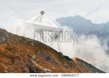 Abstract surreal shape in the middle of foggy mountain landscape. Natural and unkown. UFO landscape.