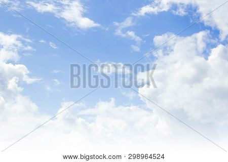 Blue Sky Background And White Clouds In The Air.