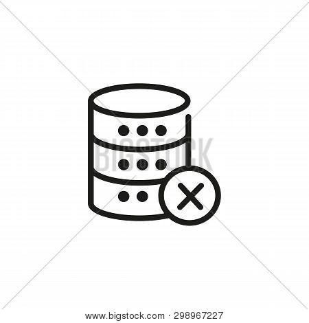 Broken Database Line Icon. Cancel, Delete, Remove. Database Concept. Vector Illustration Can Be Used