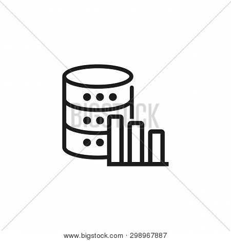 Technical stats line icon. Database statistics, efficiency stats, storage graph. Database concept. Vector illustration can be used for topics like technology, information, internet poster
