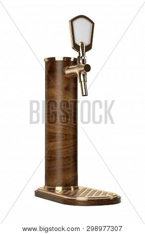 A concept wooden draught beer tap with brass fittings on an isolated dark background - 3D render poster