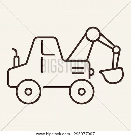 Shovel Line Icon. Digger, Bucket, Excavator. Transport Concept. Vector Illustration Can Be Used For