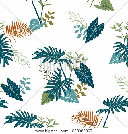 Tropical Garden Leaves On Monotone Blue Color Seamless Pattern,for Decorative,apparel,fashion,fabric