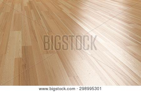 Wood Floor Close Up 3d Perspective Rendering.paquet Floor