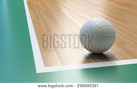Volleyball On Wooden Court Floor Corner Close Up With Light Reflection 3d Rendering With Room For Te