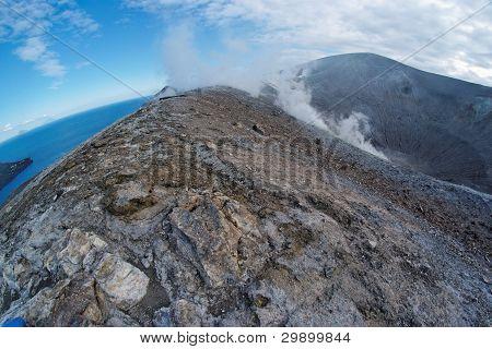 Fisheye view of Grand (Fossa) crater of Vulcano island near Sicily Italy