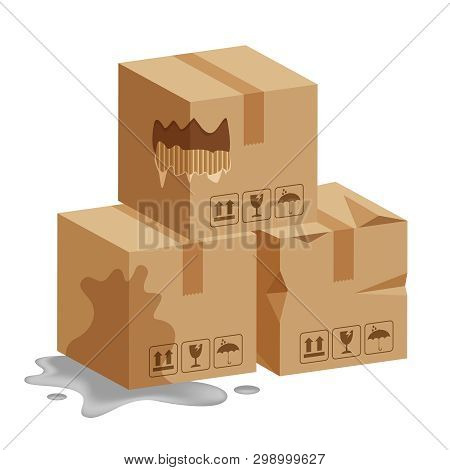 Damaged Crate Boxes 3d, Broken Cardboard Box, Flat Style Cardboard Parcel Boxes Wet, Packaging Cargo