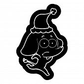 quirky cartoon icon of a unsure elephant running away wearing santa hat poster