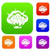 Projectile explosion set icon color in flat style isolated on white. Collection sings illustration poster