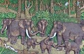 elephant Thai stucco on the temple wall poster