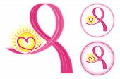 Hope for breast cancer - set of pink ribbons icons with heart and female gender symbol. Isolated over white background. Vector file saved as EPS AI8 all elements layered gouped no effects easy edit and print. poster