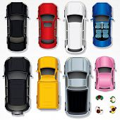 Set of Various Isolated Vector Cars, Top View Position poster